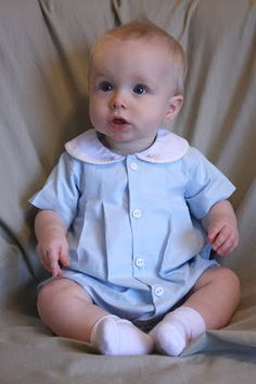 Here is what the well dressed man wore to church on Sunday. It might be January, but we are having an unusually warm winter and with his gr. Vintage Baby Clothes, Cute Baby Clothes, Baby Boy Outfits, Kids Outfits, Children's Outfits, Boy Christening, Heirloom Sewing, Baby Sewing, Beautiful Babies