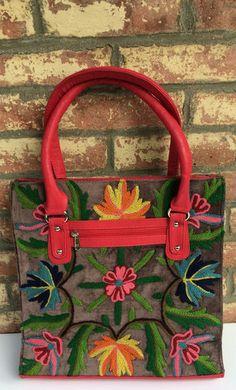 Lavender Handbag / Pink Straps, Crewel Work Flowers