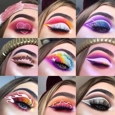 The first one is really adorable! Crazy Eye Makeup, Cute Eye Makeup, Dope Makeup, Indie Makeup, Edgy Makeup, Creative Makeup Looks, Colorful Eye Makeup, Eye Makeup Art, Halloween Party Kostüm