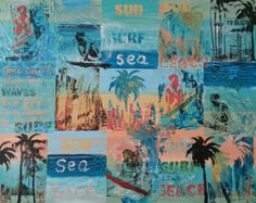 Surfing.  Mixed media collage