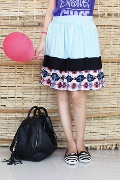 95d472e488d Sky Blue Colour tribal Print Knee Length Skirts
