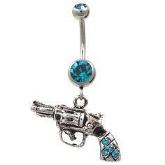 BodyDazz.com - Teal Steel Revolver Gun Dangle Belly Button Ring, Available in Teal, Aqua, Pink and Clear #Gangster #BadAss (http://www.bodydazz.com/steel-revolver-gun-dangle-belly-ring-w-teal-gems/)