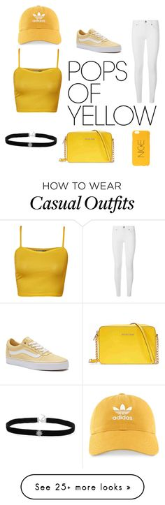 """""""Casual Sun"""" by jeffroesler on Polyvore featuring WearAll, Burberry, Vans, Michael Kors, adidas, CasualChic, PopsOfYellow and NYFWYellow"""