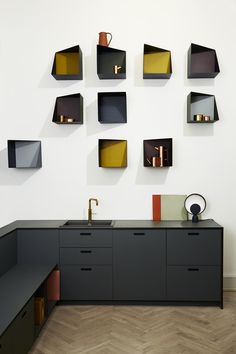 The asymmetrical and colourful addition of the Wall Boxes designed by Ludvig Storm at Please Wait To Be Seated. Photo courtesy of PWTBS.