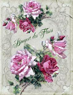 Bouquet des Fleurs French Large digital by CottageRoseGraphics