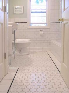 Browse newest Amazing Hexagonal Floor Tile White Bathroom Floor Tile remodeling tips in numerous pictures from Marilyn Price, home design expert. Bungalow Bathroom, Bathroom Renos, Small Bathroom, Bathroom Modern, Upstairs Bathrooms, Vintage Bathrooms, White Bathrooms, Tiled Bathrooms, Downstairs Bathroom