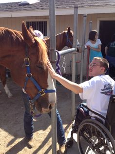 Therapy Horses are gentle and relaxed! Riders learn to read the horse's body language while working with them. Big Girl Widget meeting Mike @ The Heart Of The HorseTherapy Ranch!!!