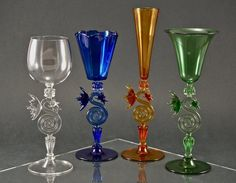 Dragon Goblet- Hand Blown Art Glass in crystal, cobalt blue, sunset, and emerald.