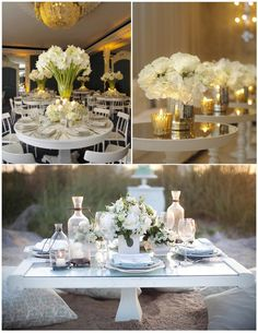 Not too big on the huge centerpiece but the white flowers make something so simple, look so elegant.