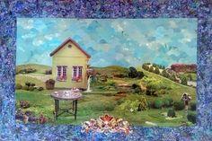 Jardim encantado - collage sobre MDF - 2014 - colagem de Silvio Alvarez - arte, art, collage, colagem, collage art, collage artist, paper, papel, revistas, recortes, sustentabilidade, reciclagem, reaproveitamento, arte ambiental, brazilian art, silvio Alvarez, surrealism, surrealismo, surreal, collagework, casa, picnic, piquenique, convescote, casa, esquilo, jardim, encantado, conto de fada, doces, azulejos