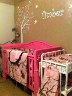 Pink Crib And Etsy White Tree Wall Decal On Brown Glitter Camo Bedding