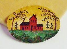 1440~Vintage Hand Painted Enamel On Wood Back To School Scene Brooch Pin**
