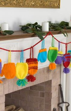 Bright Hats and Mitts Garland ~ Free Knitting Pattern PDF Version, thanks so xox ☆ ★ https://www.pinterest.com/peacefuldoves/