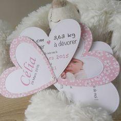 Faire part de naissance ou de baptême Coeur / Fleur : Faire-part par la-petite-carterie-foxy