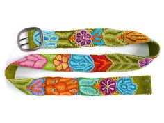 Embroidered belt Olive handmade belt floral by EmbroideryPeru