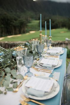 New Wedding Winter Decorations Dusty Blue 35 Ideas Table Decoration Wedding, Wedding Centerpieces, Wedding Table, Table Decorations, Napkins For Wedding, Blue Wedding Decorations, Gold Wedding Colors, Winter Decorations, Farm Wedding