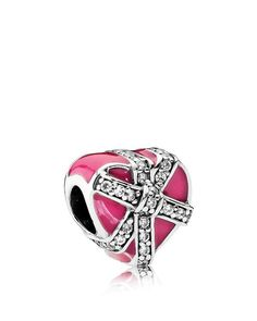 Pandora Charm - Sterling Silver, Cubic Zirconia & Enamel Gift Of Love, Moments Collection