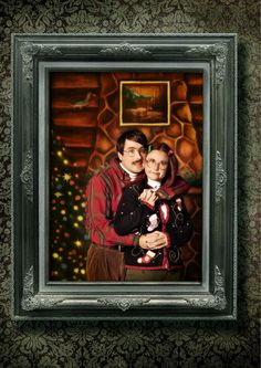 Funny Christmas Card idea: Vintage specs, ugly Christmas sweaters and an all-around awkward pose? Nailed it.