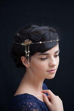 1920s Headpiece Gold tone headchain Wedding Headpiece,Art Deco Bridal Headpiece,Art Nouveau Headpiece