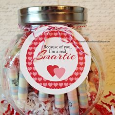 "Teacher's going to love the message on this tag! ""Because of you, I'm a Real Smartie"" #TeacherAppreciation #Valentinesday"