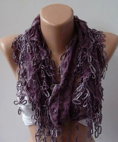 Purple  lace and Elegance Shawl / Scarf  with Lace Edge by womann, $19.90
