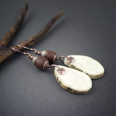 Rustic Jewelry, Copper Jewelry, Leather Jewelry, Deer Antler Jewelry, Antler Art, Animal Jewelry, Jewelry Art, Jewelry Gifts, Tribal Earrings