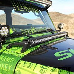 Westin 62-41025 Snyper LED Cowl Mount, Textured Black | Jeep Wrangler Outpost Black Jeep Wrangler, Wrangler Jk, Jeep Wrangler Accessories, Led Light Bars, Bar Lighting, Mom And Dad, Cowl, Monster Trucks, Jeep Jeep