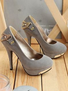 High heels shoes | Love the gold chains on the backs! The gold accents made a huge difference!