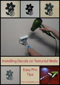 What a great trick for installing wall decals on textured walls! From http://cozywallart.com