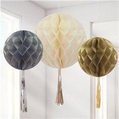 Decoration: Metallic Mix Honeycomb Ball Tassel Decorations - 28cm