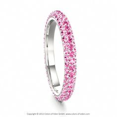 Pink Sapphire Eternity Ring in 14k White Gold #wedding #band