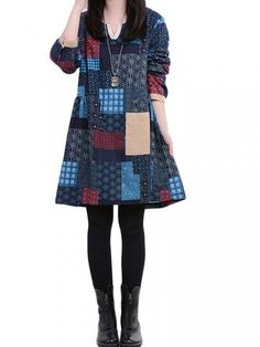 Ethnic Loose Printed Long Sleeve Cotton Linen Dress Shopping Online - NewChic