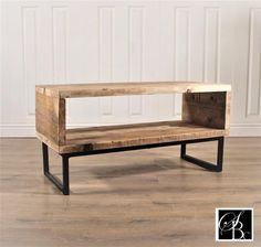 Industrial TV stand cabinet unit wood 32 - 55 inch rustic retro reclaimed pine