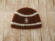 Football Beanie Crochet Made to Order by MustLoveHats on Etsy