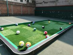 Yard Billiards Pool Table Made With Soccer Balls Sunken Buckets - How big is a full size pool table