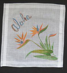Vintage ALOHA Handkerchief - Hawaii Souvenir Hanky Hankie - Bird of Paradise - Printed Hawaiian Flowers - 9th Anniversary Gift - Collectible