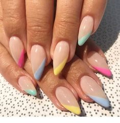 Long acrylic nails are too sharp, and short nails are too ordinary? Then you need almond nails, which are of moderate length. Almond nails are named after their shape similar to almonds. Its lines are smoother, so it looks softer. Multicolored Nails, Yellow Nail Art, Pink Yellow, Pastel Color Nails, One Color Nails, Pastel Blue Nails, Orange Nail, Different Color Nails, Almond Shape Nails