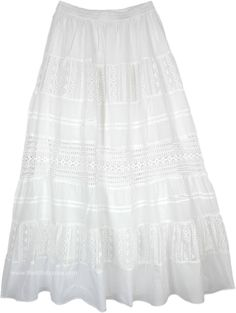 Periwinkle Milk White Crochet Lace Long Skirt in Clothing (Crochet-Clothing, Lace, XL-Plus, Maxi Skirt, Solid). A snowy white skirt with crocheted lace panels attached to it - it can be worn with a lot of different tops in every color that you prefer Long Skirt Outfits For Summer, Summer Skirts, Mini Skirts, Denim Skirt Outfits, Midi Skirt Outfit, Boho Skirts, Boho Tops, Ladies Dress Design, White Lace