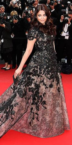 Aishwarya Rai in lace printed, shimmery, embroidered Elie Saab gown at the 'Inside Llewyn Davis' celebration in Cannes