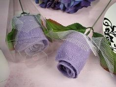 Rose Towel Favors Lilac - $0.99 Bridal shower decoration, Mother's Day, baby shower decoration or gift.