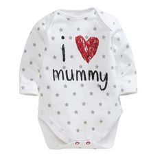 2016 baby boys girls set Long sleeve New Arrival I Love Mum Dad Baby Romper  Heart Printed baby clothes WOW Get it here