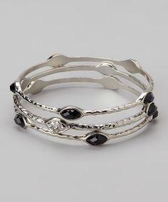 Silver & Black Shimmer Hammered Bangle Set | Daily deals for moms, babies and kids