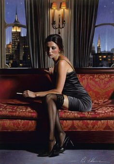 Chic realistic paintings by exceptionally talented figurative artist Rob Hefferan - ego-alterego.com
