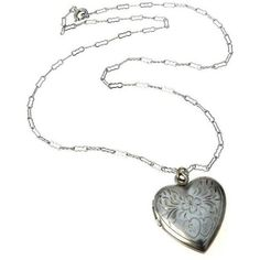 Vintage Sterling Silver Heart Locket Necklace ($48) ❤ liked on Polyvore featuring jewelry, necklaces, locket necklace, letter necklace, engraved necklace, vintage locket necklace and heart necklaces