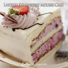 Layered Strawberry Mousse Cake I think I could make this diabetic friendly