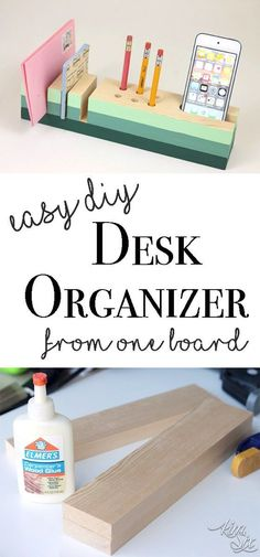 Plans of Woodworking Diy Projects - Easy DIY desk organizer from a single board A great starter woodworking project Get A Lifetime Of Project Ideas & Inspiration! Easy Woodworking Projects, Popular Woodworking, Diy Wood Projects, Woodworking Plans, Carpentry Projects, Woodworking Furniture, Woodworking Shop, Intarsia Woodworking, Woodworking Equipment