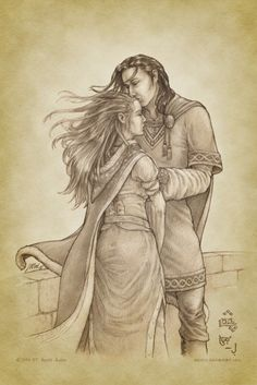 deepdarknight:   'Éowyn, Éowyn, White Lady of  Rohan, in this hour I do not believe that any darkness will endure!' And  he [Faramir] stooped and kissed her brow.   And so they stood on the walls of the City of Gondor, and a great wind  rose and blew, and their hair, raven and golden, streamed out mingling  in the air.  — J. R. R. Tolkien: The Lord of the Rings, Book 6 Credit for the illustration goes to aautio on deviantart.