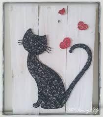 Cat Silhouette Love - String Art (easy diy projects with yarn) String Art Diy, String Crafts, Yarn Crafts, Diy And Crafts, Arts And Crafts, Resin Crafts, String Art Patterns, Ideias Diy, Cat Silhouette
