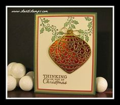 by Lynn: Embellished Ornaments, Gold & Red Foil Papers, Delicate Ornaments Thinlits - all from Stampin' Up!