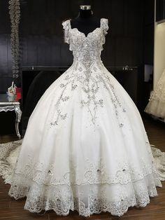 Fényűző Peremezés Crystal Ball ruha esküvői ruha Cathedral